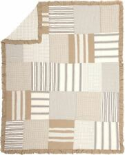Ruffled Patchwork Twin Quilt Hand Stitched Country Gray Tan Stripe & Check Grace