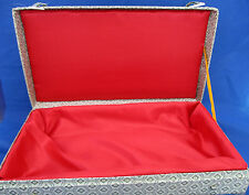 """Vintage Japanese DOLL CASE Only Green Silk Cover Red Satin Lining Padded 14"""""""