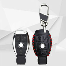 Real Leather Auto Key case key chain for Mercedes Benz Car 3 Buttons Red thread