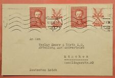 1938 CZECHOSLOVAKIA MARGIN INSCRIPTION SINGLES ON COVER TO GERMANY