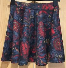 Ladies Size 10 Floral Navy Blue Red Yellow Flare Mini Skirt Skater Pull On