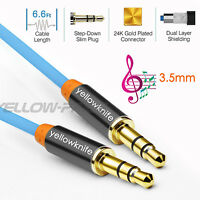 Blue 3.5mm Stereo Male to Male Jack Audio AUX 6FT Cable Cord for DVD MP4 PC-US