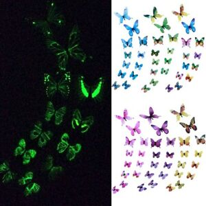 12pcs Luminous Butterfly Wall Decal Art Wall Stickers Room Removable Home Decor