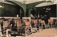 Staunton, VA New Virginia Hotel Lobby Creepy Faces Old Vintage Postcard