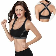 Ladies Padded Sport Bras Breathable Athletic Fitness Running Vest Cotton Top New