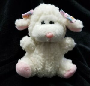 1987 Dan Dee Plush Stuffed Easter Lamb Bows on Ears Dandee Vintage