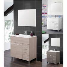 Muebles de Baño CM 80 O 100 Lavado Cerámica Espejo Blanco Roble S