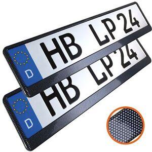 2 Stück Kennzeichenhalter in Carbon Optik Nummernschildhalter Kfz Halter