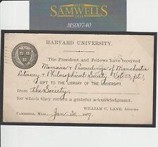 MS00740 1909 USA Per GB scheda di cancelleria FLAG Annulla Harvard UNI BIBLIOTECA STORICA