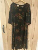 Laura Ashley Vintage 80s Black Floral Rayon/ Wool Cottage Dress Size 12