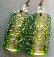 Pair Of Man-Made Crystal Quartz Happy Lucky Dragon Phoenix Amulet Pendant