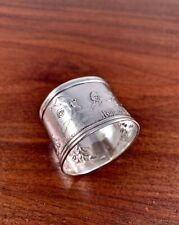 "RARE SIMONS BABY / CHILD STERLING SILVER NAPKIN RING ""HEY! DIDDLE DIDDLE"" - TOM"