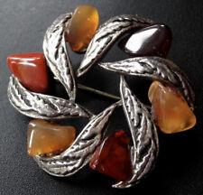 vintage carnelian agate stone modernist flower silver tone brooch 1970s -D163
