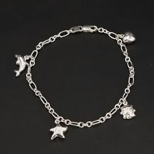 """Sterling Silver - ITALY Star Heart Dolphin Charm 8"""" Chain Link Bracelet - 6g"""