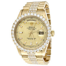 18K Yellow Gold Mens Rolex Presidential Prong Diamond Day-Date 36mm Watch 8 CT.