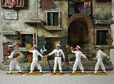 5 Vintage French Made Starlux Toy Plastic Soldiers 3 Band & 2 Soldiers / Sailors