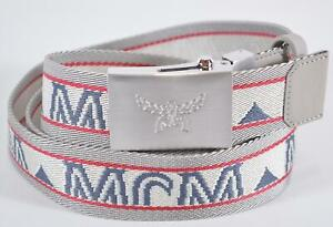 New MCM Men's Embroidered Web Laurel Visetos Buckle Cut to Fit One Size Belt