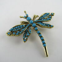 Kenneth Jay Lane Jeweled Dragonfly Brooch Pin Vintage Costume Jewelry