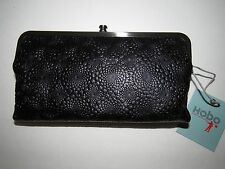 $128 HOBO INTERNATIONAL LAUREN EMBOSSED LEATHER DOUBLE FRAME WALLET CLUTCH