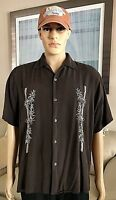Men's Size M VINTAGE SILK Circa 1969 100% SILK Dark Brown Short Sleeve Shirt