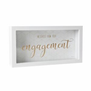 ENGAGEMENT WISHING WELL BOX messages wishes 50 cards money notes white and gold