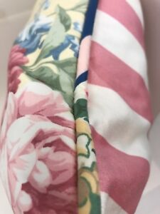 """Custom Cotton Throw Pillow Pink Floral Striped Cottage Farmhouse Chic 21"""" Square"""