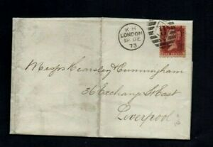 1873. COVER. QV 1d RED PLATE No.158. LONDON DISTRICT TYPE DUPLEX DATE STAMP.