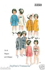 "3350 Vintage Doll Wardrobe Clothing Pattern 9.5"" fits Skipper Barbie Sister"