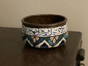 Antique Islamic Enameled Copper Bowl Damascene Early 19th Century