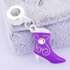 1pcs Silver Plated Purple Enamel CZ Boots Dangle Charm Fit European DIY Bracelet