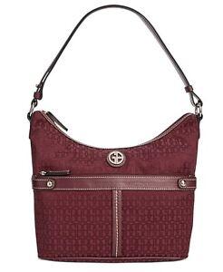 Giani Bernini Annabelle Signature Wine Hobo Bag Burgundy Shoulder Handbag Purse