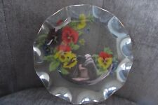 Vintage 8 inch Glass Plate with Floral Print and Gold Fluted Edges