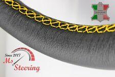 FOR SAAB 9-5 AERO 11-11 BLACK LEATHER STEERING WHEEL COVER YELLOW STIT