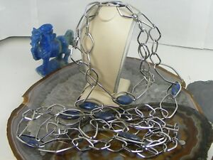"""Lot Two QVC Simona Collini Stainless Steel 36"""" Marquise BLUE LAPIS Gems Necklace"""