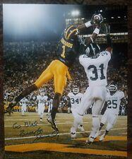 Braylon Edwards autographed 16x20 photo VS MSU TD MUST SEE Photo Proof w GO Blue