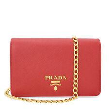 Prada Lux Saffiano Leather Convertible Crossbody Wallet - Fuoco
