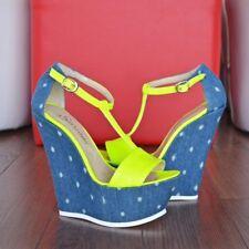 Women's Wedge High Heels T-strap Buckle Sandals Peep Toe Platform Shoes US 8