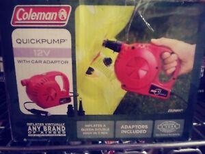 NEW! COLEMAN Inflatable Camping Mattress 12 Volt DC QuickPump w/ Valve Adapters