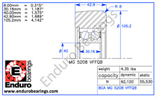 Mast Guide Bearing ENDURO MG 5208 VFFQB  Hyster 1343011 Yale 520045374 forklift