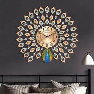 3D DIY Peacock Wall Clock Metal Modern Art Digital Home Office Decor 60*60cm AU