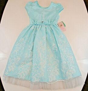JONA MICHELLE Dress Girls Sz 6 Ice Blue Full Skirt Tea Length Cap Sleeves NWT