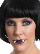 Vamp Witch Makeup Costume kit Purple Lipstick Eye Lashes fangs glitter halloween