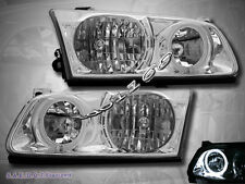 2000-2001 Toyota Camry Headlights Chrome Clear Halo Rim Lamps NEW