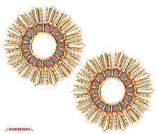 "11.8"" Set 2 Pieces Small Sunburst Round Mirrors - Gold & Red wall Mirror -  Peru"