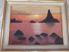 Quadro olio su tela marina al tramonto cornice laccata originale dell'epoca