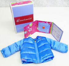 NEW American Girl Doll Clothes PUFFY JACKET Ice Blue Coat & Proud Charm AG BOX!