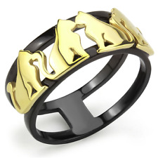 HCJ GOLD & BLACK 2 TONE STAINLESS STEEL GOLD CAT ANIMAL FASHION RING SIZE 5 - 10
