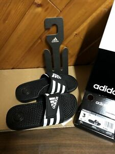 adidas Kids' Adissage, Black/White, Size 3 Brand New