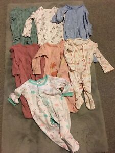 Baby girls sleepsuits aged 3-6 months