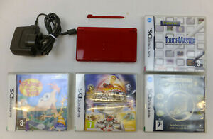 RED NINTENDO DS LITE CONSOLE PACKAGE with PSU & 4 BOXED GAMES VGC & WORKING